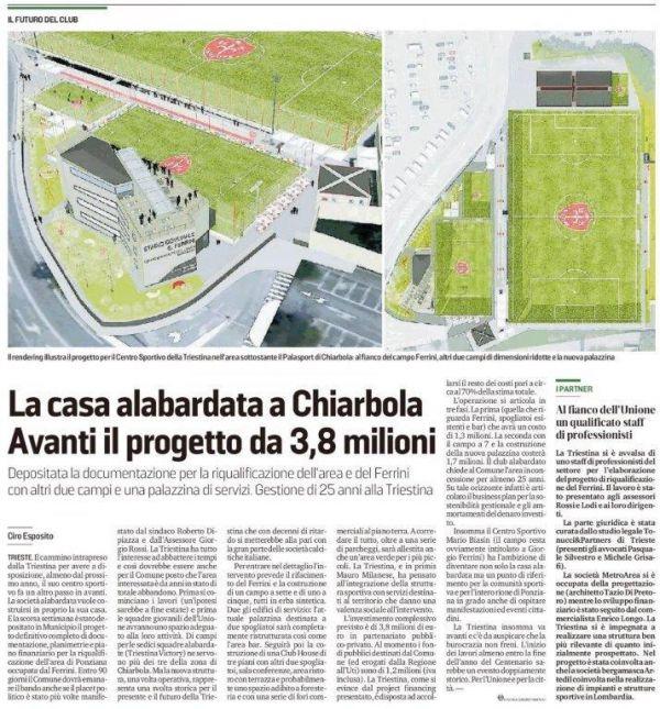 """Tonucci & Partners advisor della Triestina Calcio 1918 per il Centro Sportivo """"G. Ferrini"""", un progetto da 3,8 milioni."""